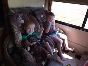 Snack time in the RV.