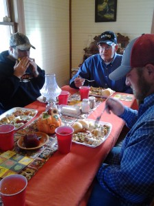 Enjoying a great Thanksgiving meal with family.