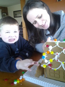 Building a gingerbread house at Aunty Kelly's.