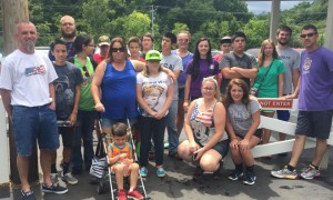 Franklin Baptist Youth enjoying a group picture at camp.