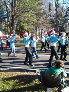 The West Rowan High School Band marching in the Cleveland Christmas parade.