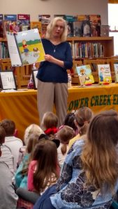 Having a great day reading my books at Lower Creek Elementary School.